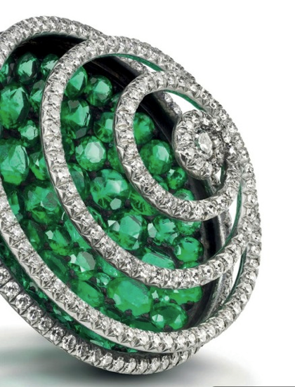 JAR emerald diamond spiral earclips