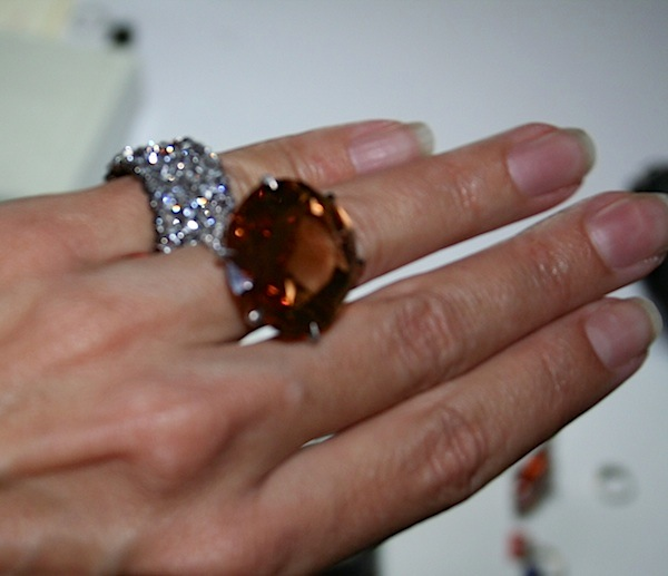 Ellen Barkin's rings on my hand (Cathleen McCarthy/The Jewelry Loupe)