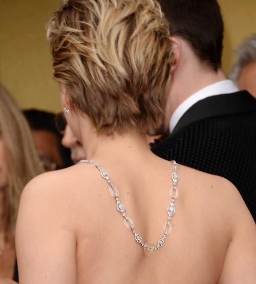 Jennifer Lawrence back necklace