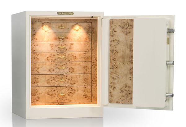 Jewelry Safe in White-MappaBurl-Gold