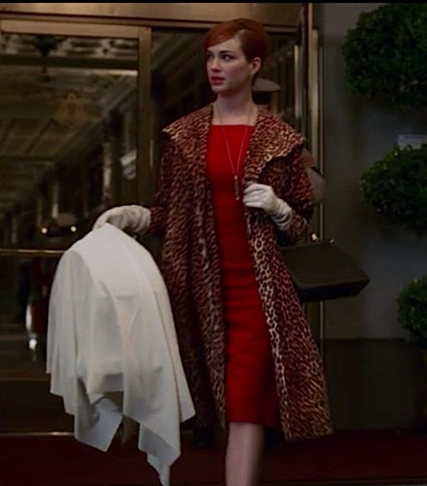 Joan Holloway in leopard coat
