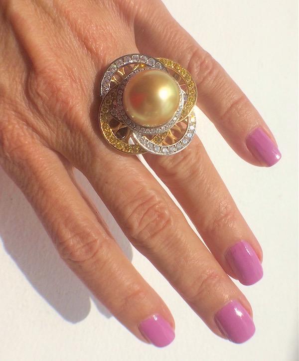 Judy Evans golden pearl ring