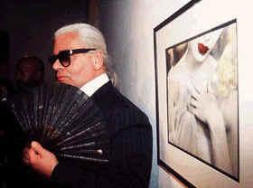 Karl Lagerfeld with fan