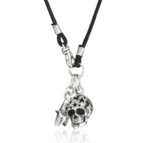 King Baby skull pendant of sterling on braided cord, $345 (amazon.com)