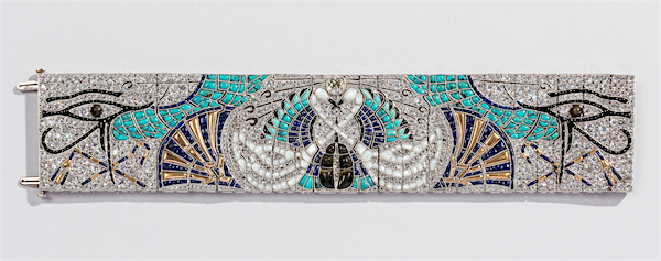 Egyptian Bracelet by Lacloche Frères, 1925, of diamonds, turquoise, sapphires, mother-of-pearl, onyx, black pearls, smoky quartz, tourmaline, gold, and platinum (private collection/photo Matt Flynn)