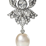 Late 19th-century brooch of natural pearl, silver, 9k gold, old-cut diamonds sold for $1.1mil at Christie's Paris on June 1, 2015, triple the high estimate.