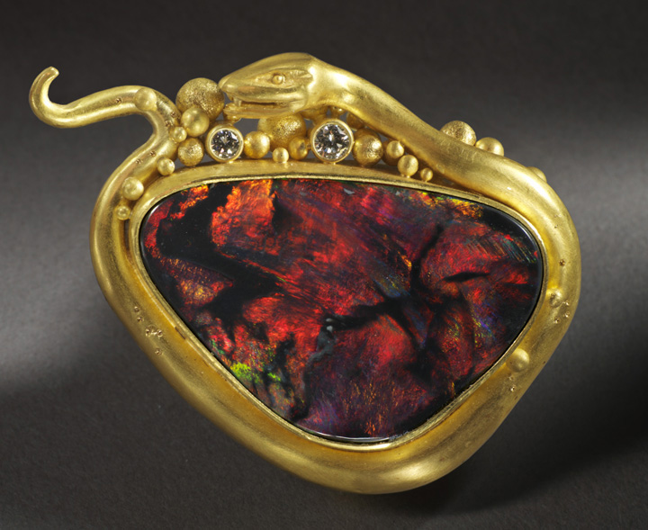 Lilly Fitzgerald red opal snake pin