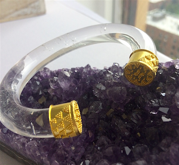 Bangle by Loren Nicole of hand-carved rock crystal with 22k gold