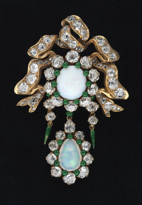 Brooch of gold, opal, diamonds, and enamel, c. 1885 (Museum of the City of New York)