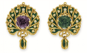 Brooch of enamel, cushion-cut alexandrite, old diamonds, and rose gold, c. 1900, by Marcus & Co. (estimate $70,000-$100,000 at Christie's New York, April 16, 2014)