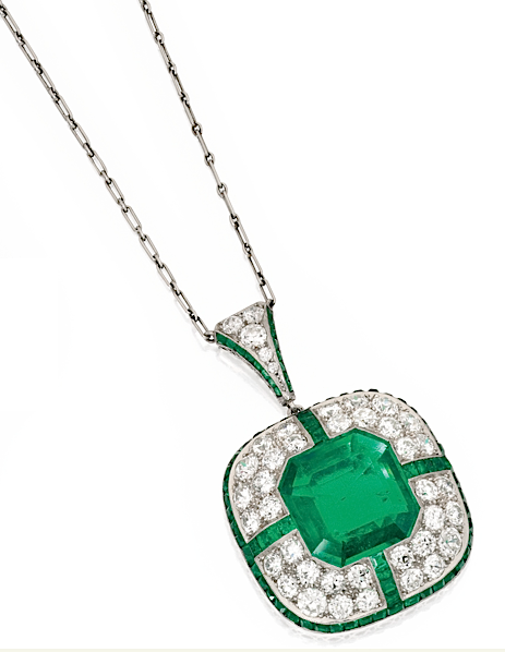 Necklace of 10.40ct emerald-cut emerald, round diamonds and calibré-cut emeralds (sold for $106,250 at Sotheby's NY, April 2013)