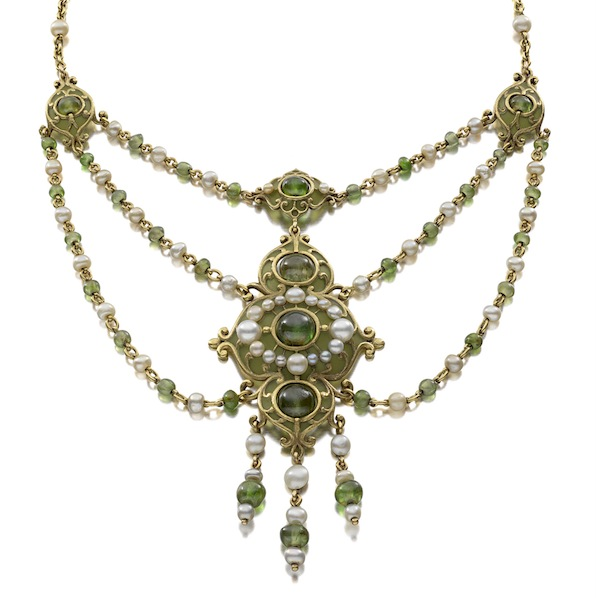 Necklace (detail) of demantoid garnet, natural pearls, plique à jour enamel, gold, c. 1900 (Siegelson New York)