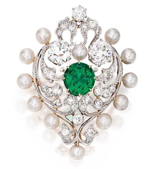 Marcus & Co. emerald pearl brooch
