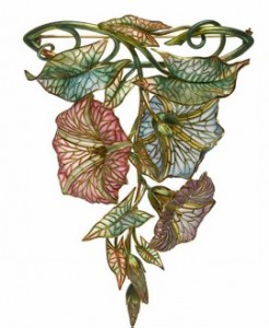 Marcus & Co. plique a jour morning glories brooch