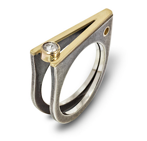 """""""Chopstix"""" ring by Megan Clark of sterling silver with 18k gold and diamond"""
