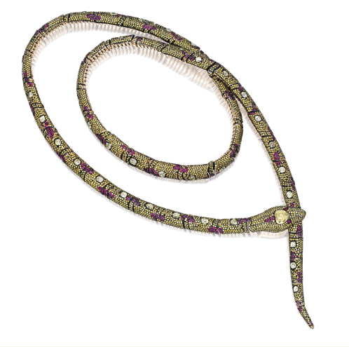Flexible necklace of 18k gold, yellow diamonds and rubies by Michele della Valle, est. $60,000-80,000 at Sotheby's New York, Dec. 11, 2013 (Sotheby's Images)