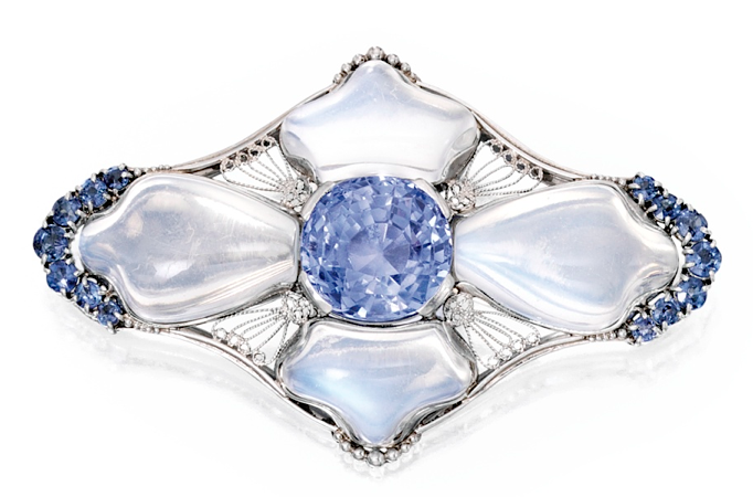 Moonstone sapphire brooch by Louis Comfort Tiffany