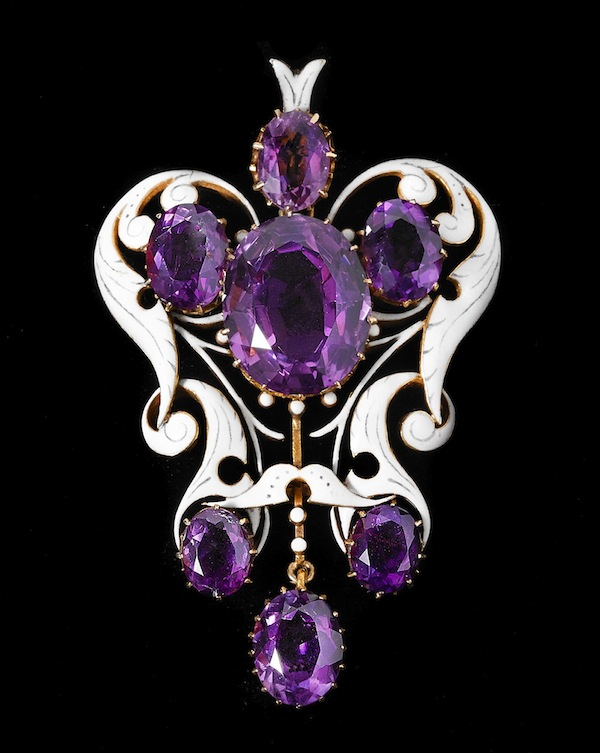 Pendant of gold, enamel and amethyst designed by Mrs. Philip (Charlotte) Newman, 1884-1890 (Collection of the Newark Museum. Photo John A. Faier/Richard E. Driehaus Museum)