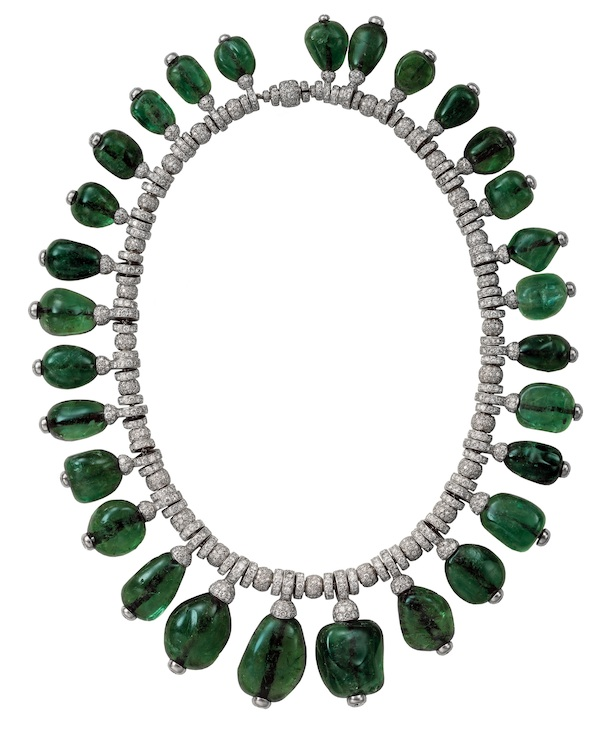Necklace of emeralds and diamonds owned by Merle Oberon