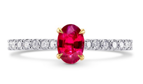 Ring of .52ct oval ruby and pavé-set diamonds in 18k gold ($1,850)
