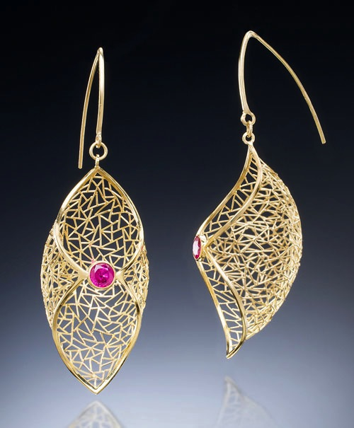 Earrings of 18k gold wire and 4mm rubies, laser-welded (no soldering) for strong, clean joints. Won a 2015 MJSA Vision Award.