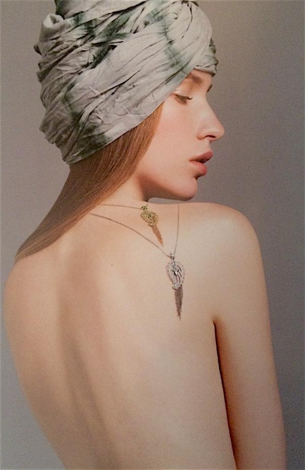 Paisley pendants by Ana de Costa (Fine Jewelry Couture, photo Kent Baker/model Melinda Szepesi)