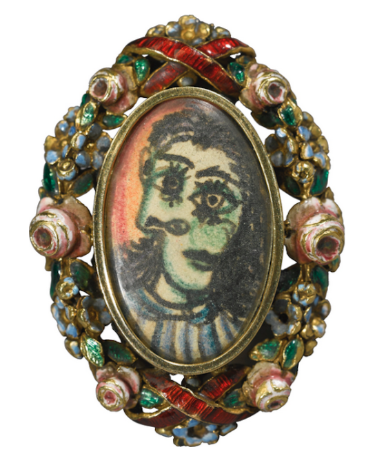 Ring containing a portrait of Dora Maar in pen and colored pencil by Picasso, c. 1936-1939, set in pre-made yellow metal composite ring will sell at Sotheby's London on June 21, 2017