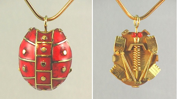 Grant Robinson Red Turtle push puppet necklace