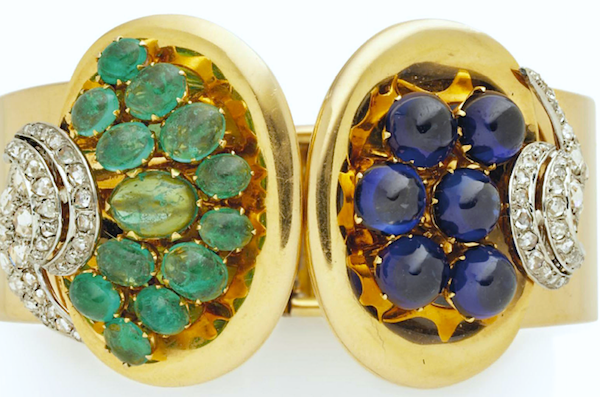 Clips of emerald, synthetic sapphire, diamond, gold and platinum by René Boivin, 1940, sold for $32,600 at Christie's in November 2014