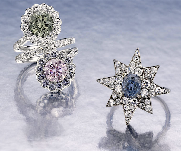 Ring of fancy-colored diamonds and diamonds by William Goldberg (est. $50,000-70,000) and ring with 0.71ct fancy deep blue diamond mounted in diamond pavé star (est. $250,000-350,000) at Bonhams New York, June 22