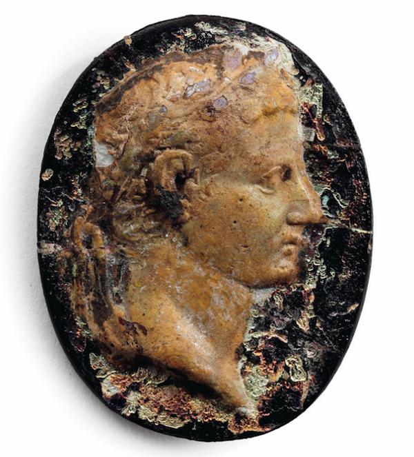 Roman glass portrait of Tiberius, c. 1st century A.D.