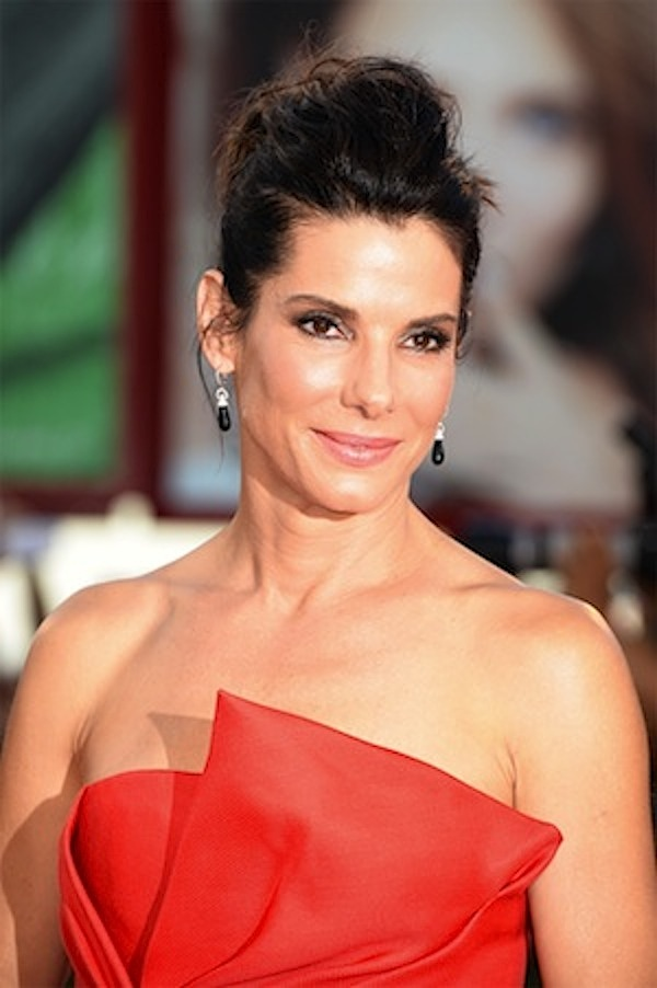 Sandra Bullock wearing Martin Katz earrings at 2013 Emmy Awards