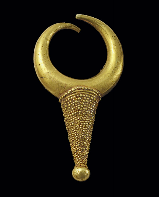 Mycenaean gold earring, c. 13th century B.C., of solid tapering, crescent with fine granulation, 3.4cm (est. $5,000-7,000, Christie's NY, Dec. 13, 2013)