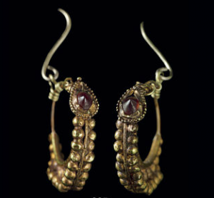 Hoop earrings of garnets and gold with granulation, c. 1st century B.C.-1st century A.D. (est. $1,500-2,000, Christie's NY, Dec. 10, 2013)