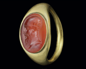 Carnelian carved with the head of a philosopher mounted in a modern gold setting (est. $3,000-5,000, Christie's NY, Dec. 10, 2013)