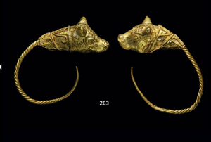 Earrings of twisted wire terminating in a bull head protome, Hellenistic period, c. 3rd-2nd centuries B.C. (est. $1,500-2,000, Christie's NY, Dec. 10, 2013)