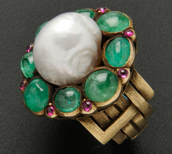 Ring by Marie Zimmermann (American, 1879-1972) of gold, baroque pearl, emeralds and pink sapphires, c. 1922 or earlier (est. $10,000-15,000 at Skinner Dec. 2013)
