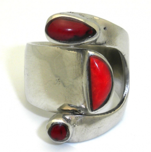 Silver bloodstone ring