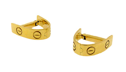 Cartier Love cufflinks of 18k gold, designed to fit around the sleep, c. 1980s ($3,850, AaronFaber.com)