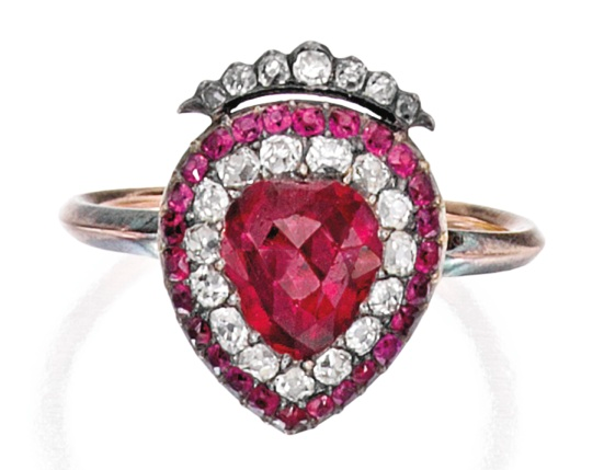 Ring of crowned heart-shaped ruby & set in silver and gold, surrounded by old mine-cut diamonds and round rubies, c. 1890-1900