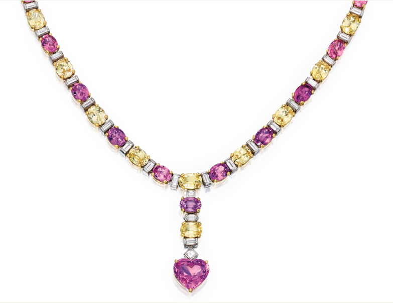 Necklace of pink and yellow sapphires and baguette diamonds