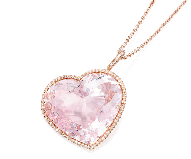 Pendant of 69.85ct morganite, rose gold, light brown diamonds by Margherita Burgener