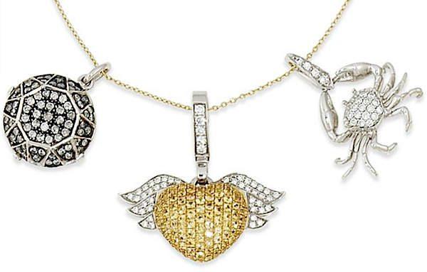 Charm necklace by Theo Fennell with 18k gold pavé charms of yellow sapphire and diamond