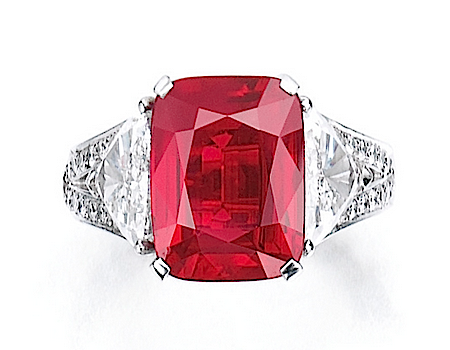 The Graff ruby, a 8.62ct cushion-cut ruby set in a diamond and platinum ring, sold at Sotheby's for $8.6mil in November 2014, setting a world auction record.