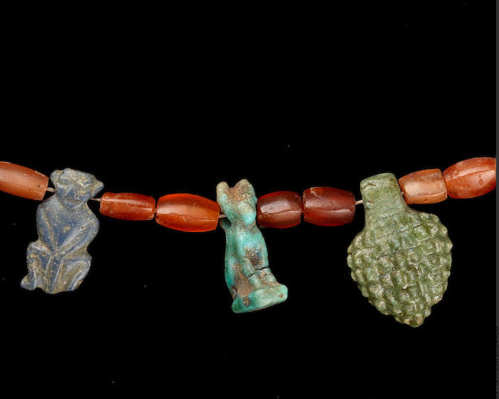 Egyptian amulet necklace, c. 1550-332 B.C.