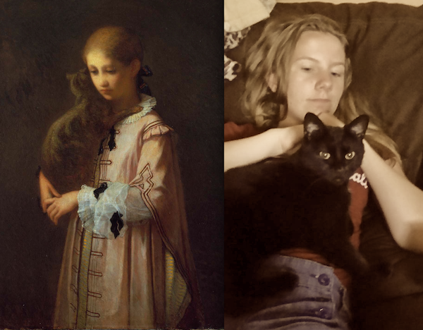"""Girl with Cat,"" 1856, by William Morris Hunt (MFA) and Audrey Walton with Potter, 2015"