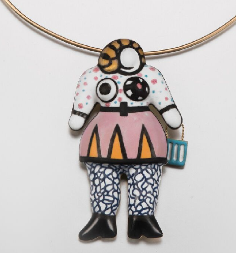Nana with Bag necklace of enamel and gold with articulated handbag, begun 1974, completed 2015, signed Niki de Saint Phalle, 1974