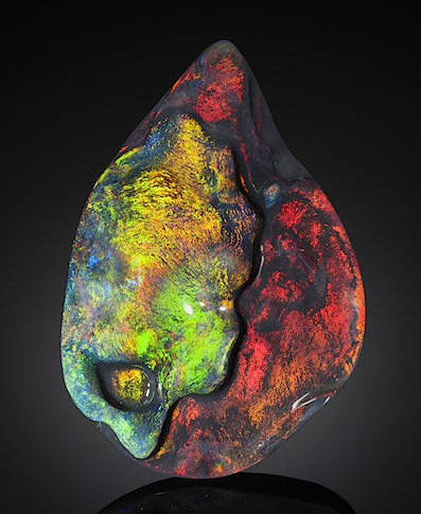 Free-form black opal of 167.93 carats
