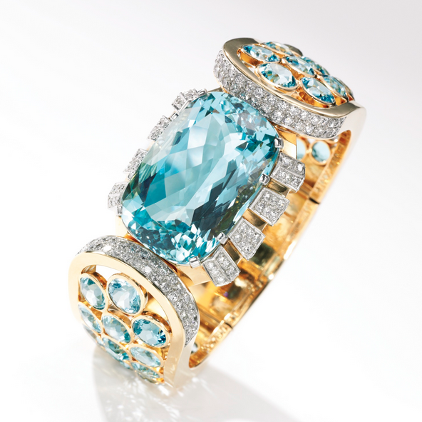 Bangle bracelet of gold, aquamarine and diamonds by René Boivin, 1937, sold at Sotheby's London on Dec. 1, 2015, for $185,000