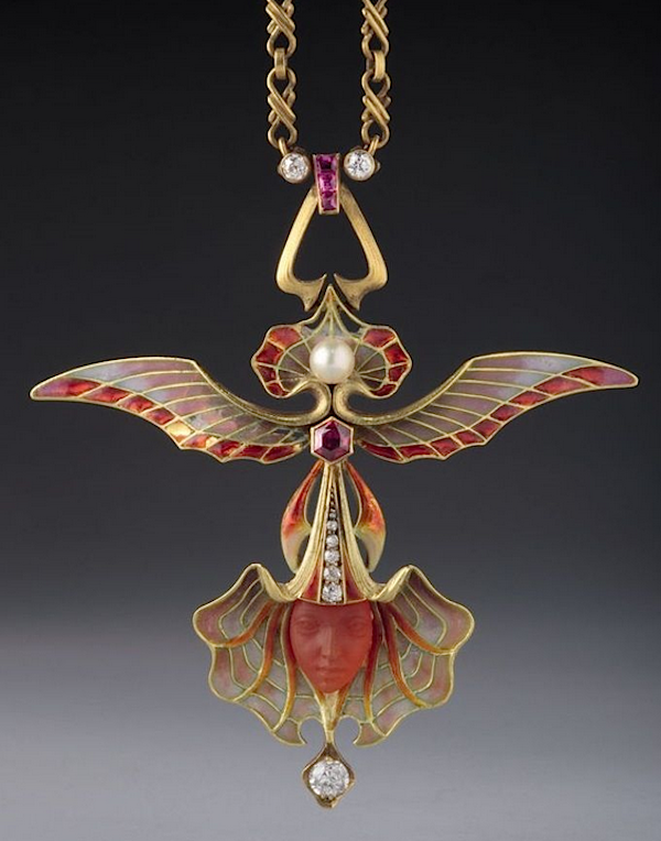 """Winged Orchid"" pendant by Philippe Wolfers, c. 1902 (Hessisches Landesmuseum, Darmstadt, Germany)"